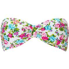 Forever 21 Women's  Garden Goddess Bandeau Bikini Top ($13) ❤ liked on Polyvore featuring swimwear, bikinis, bikini tops, bathing suits, swimsuits, tops, swimsuits two piece, bathing suits bikini, swimsuit swimwear and bikini swimsuit