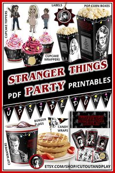 Stranger Things party printables set.  #etsy #strangerthings #strangerthingsseason2 #stranger #things #partyideas #supplies #movies #movieparty #movienight #cupcake #banner #box #decor #partyideas #partytime #girlparty