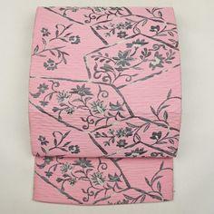 Pink, silk nagoya obi / ふくれ織りの表情が大人びた表情を添える八寸名古屋帯 http://www.rakuten.co.jp/aiyama #Kimono #Japan #aiyamamotoya