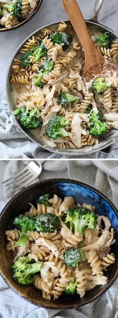 I sneak in healthy when I can. Whole wheat pasta and fresh broccoli make this cheesy pasta a family fave #recipe on foodiecrush.com