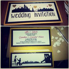 Our New York theme wedding invites designed and handmade by myself and hubby to be. Very proud of them