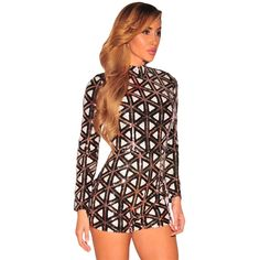 Intriguing yet elegant, this one piece sequins is sure to turn heads and meet you a celebrity dream, bling-bling. You could see our designer romper is characteristic of a long sleeves and mock neck silhouette, sequins bodice with outstanding Aztec pattern, body-flattering and fit well for Birthday parties