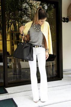 white pants, grey tee, yellow jacket