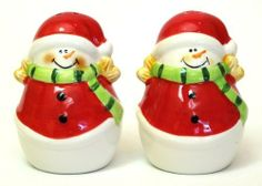 Ceramic Snowman Salt & Pepper Set by general supply. $16.90. Ceramic Snowman Salt & Pepper Set, in Santa suit and green scarf, measures 2 wide, 2.75 tall.