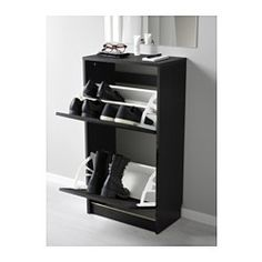 IKEA - BISSA, Shoe cabinet with 2 compartments, black/brown, , Helps you organise your shoes and saves floor space at the same time.You can easily adjust the space in the shoe compartments by moving or taking away the dividers.In the shoe cabinet your shoes get the ventilation and the space they need to keep them like new for longer.