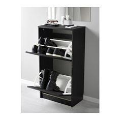 BISSA Skoskap med 2 rom, svart, brun - 49x93 cm - IKEA