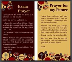 Exam prayer and prayer for the future...
