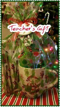 Teacher's Gift.  Coffee Mug, K-Cups, Note Pad & Coffee Sticks.