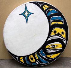 Hobiyee Drum Red Cedar, Elk Skin, Acrylic Paint Private Collection, used as raffle for 2013 Ts'amiks Hobiyee January 2013 Native Art, Native American Art, Hammered Dulcimer, Haida Art, Tlingit, Western Theme, Indigenous Art, Red Cedar, Felt Art