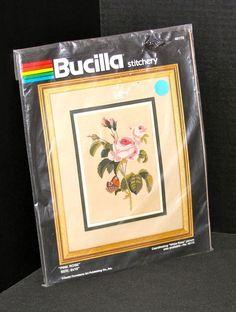 "Bucilla Embroidery Kit Pink Rose Design 8 x 10"" NIP Stamped Design Needlework #Bucilla"