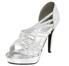 cheap high heel rhinestone unique silver wedding shoes for women