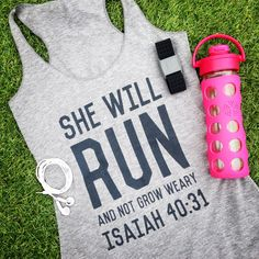 She Will RUN & Not Grow Weary Tri-blend Scripture Tank in Heather Grey / Charcoal….Gym Tank, Graphic t-shirt, Workout Tank funny t shirts … Graphic T Shirts, Workout Attire, Workout Wear, Workout Outfits, Workout Style, Train Hard, Racerback Tank, Estilo Fitness, Fitness Motivation