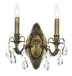Crystorama 5562-AB-CL-SAQ 2-Lights Swarovski Spectra Wall Sconce - Antique Brass