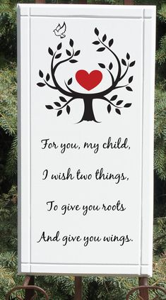 Roots and Wings Sign Wood Plaque 11x22 Parent by Frameyourstory, 39.95