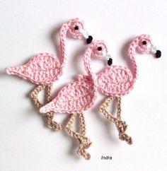 Häkelapplikationen - ein Flamingo gehäkelt Häkelapplikation Häkelblume - ein Designerstück von Ing-Indra bei DaWanda