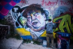 Def3, a graffiti writer and hip hop artist from Vancouver, took several days to finish his Chris Farley piece at the HOG during SXSW 2014. A few weeks later, it was gone. | Please Deface This Park's Walls | Co.Design | business + design