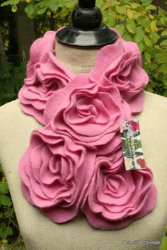 Gorgeous pink ruffle rose scarf, from Etsy shop Cherished Vintage.