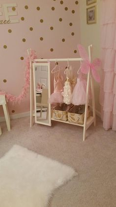 Dress Up Wardrobe Rack w/ Mirror Ivory Toddler's clothing