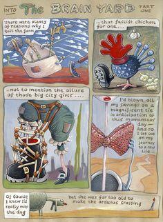'The Brain Yard (Part one)' by Ellis Nadler A3 Size, The Allure, Lightbox, City Girl, Gouache, Brain, Yard, Baseball Cards, Painting