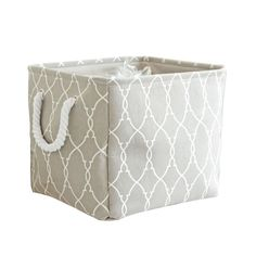 Cotton Laundry Storage Basket Organizer - Grey
