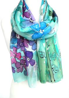 Floral Silk Scarf. Hand Painted Scarf. Emerald by TeresaMare, $39.00
