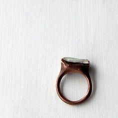 Aquamarine Ring Gemstone Ring Birthstone Ring by MidwestAlchemy