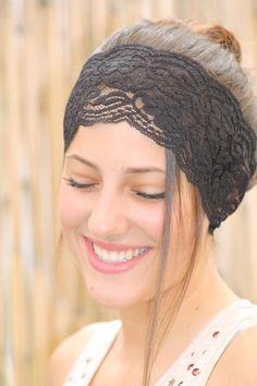 Black Lace Headband Women Hair Accessories  Turban by TopStyle1, $12.00 #hair #headband #style #fashion #gym #beautiful