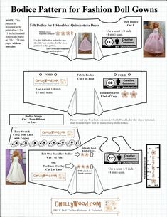 Sewing Clothes Patterns This week I'm posting free patterns and a tutorial for sewing a Barbie/fashion doll quinceañera dress. Of course, this pattern can also be used to make your fashion dolls a wedding gown, prom… Sewing Barbie Clothes, Barbie Dolls Diy, Free Barbie, Barbie Sewing Patterns, Doll Dress Patterns, Barbie Dress, Dolls Dolls, Girl Dolls, Free Printable Sewing Patterns