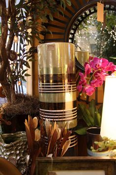 tall brown moss green and cream iridescent cylinder vase  Evergreen at the Lake of the Ozarks  Home Decor Store  www.EvergreenMfg.net