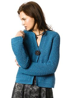 Twyla is a smart cardigan that fastens with a single button in Softwist. (Berroco)