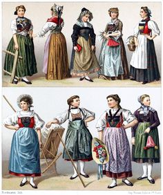 Switzerland, women's dresses.  From Geschichte des Kostüms (The costume history) vol. 5, by Auguste Racinet, Berlin, 1888.