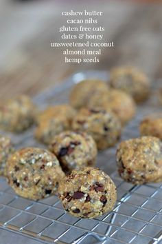 No Bake Energy Bites with cashew butter, cacao nibs, oats, honey, dates coconut and hemp seeds. #glutenfree #healthy | mountainmamacooks.com