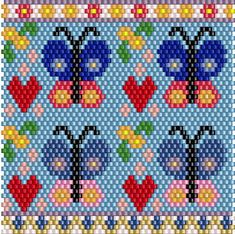 Beading Pattern Butterflies Lighter Case Peyote Stitch Miyuki Delica Bead Pattern for BIC Lighter Cover Case with Hearts and Flowers by KWynnJewelry on Etsy