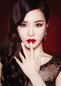 Tiffany Hwang SNSD Girls' Generation IPKN Photoshoot - Dramatic Makeup, Dark Wavy Hair, Transparent Black Blouse w/ Bead Detail
