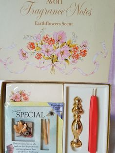 Vintage Avon Fragrance Notes Stationery Kit With Stick Seal Earthflower Scent #Avon
