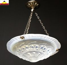 Floral decor, opalescent. Nickel-plated brass fixture. B22 bayonet cap socket. Moulded pressed satin glass. Height 48cm / 18.9 in. Dimensions. Diameter 37cm / 14.57 in.