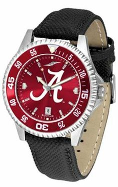 Alabama Crimson Tide UA NCAA Mens Leather Anochrome Watch by SunTime. $79.95. Adjustable Band. Men. AnoChrome Dial Enhances Team Logo And Overall Look. Officially Licensed Alabama Crimson Tide Men's Leather Wristwatch. Poly/Leather Band. Showcase the hottest design in watches today! A functional rotating bezel is color-coordinated to compliment your favorite team logo. A durable long-lasting combination nylon/leather strap together with a date calendar round out th...