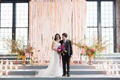 An Industrial Dream Wedding In Upstate New York #refinery29  http://www.refinery29.com/100-layer-cake/81#slide14  Wedding backdrop: Elizabeth MacLennan.