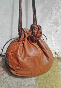 32dda25f2578 90s Boho Patch Leather Rounded Drawstring Bag Drawstring Bags