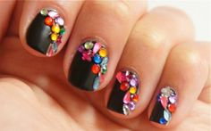 cool Black Multicolored Bejeweled Nails