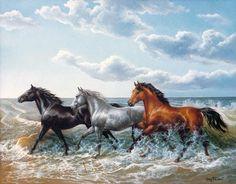 Image Art Photography   chevaux dans la mer - GUY THIANT - ARTISTE PEINTRE