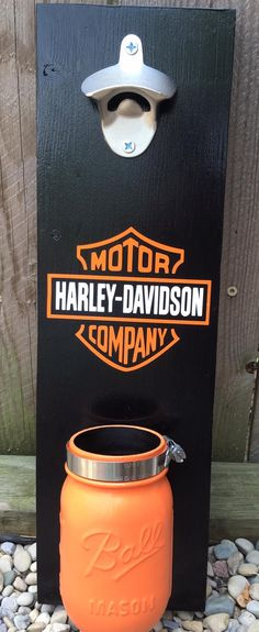 Harley Davidson wall mounted bottle opener with mason jar cap catcher!