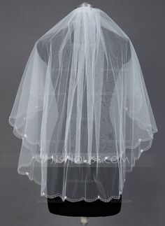 Wedding Veils - $17.59 - Two-tier Fingertip Bridal Veils With Beaded Edge (006039817) http://jjshouse.com/Two-Tier-Fingertip-Bridal-Veils-With-Beaded-Edge-006039817-g39817