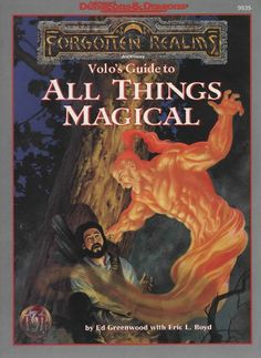 Volo's Guide to All Things Magical (2e) - Forgotten Realms | Book cover and interior art for Advanced Dungeons and Dragons 2.0 - Advanced Dungeons & Dragons, D&D, DND, AD&D, ADND, 2nd Edition, 2nd Ed., 2.0, 2E, OSRIC, OSR, d20, fantasy, Roleplaying Game, Role Playing Game, RPG, Wizards of the Coast, WotC, TSR Inc. | Create your own roleplaying game books w/ RPG Bard: www.rpgbard.com | Not Trusty Sword art: click artwork for source