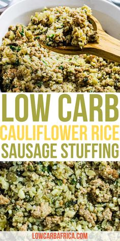 This low carb cauliflower rice sausage stuffing is absolutely delicious! Pair it with a protein and you've got dinner covered | healthy dinner recipes | easy dinner recipes | healthy side dishes | low carb recipes | keto dinner recipes #lowcarbrecipes #ketorecipes #cauliflower #stuffing #healthystuffing Low Carb Side Dishes, Healthy Side Dishes, Side Dishes Easy, Side Dish Recipes, Low Carb Recipes, Healthy Recipes, Main Dishes, Healthy Food To Lose Weight, Healthy Meal Prep