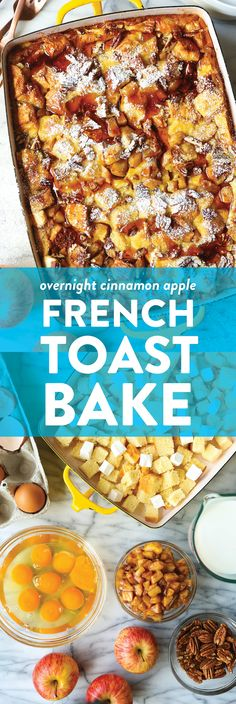 Overnight Cinnamon Apple French Toast Bake - Prepare the night before! Soaked in maple syrup, tender cinnamon apples + topped with toasted pecans. Apfel French Toast, French Toast Bake, French Toast Casserole, Breakfast Casserole, Breakfast Dishes, Breakfast Recipes, Breakfast Time, Breakfast Ideas, Overnight French Toast