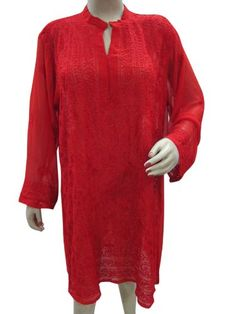 Designer Indian Tunic Kurta Hand Embroidered Georgette Red Kurti Dress Xl Beautifully Sequin Stylish neckline Red Thread embroidered with Full sleeves Georgette designer Red kurti tunic.. Beauty and style personified, these kurtis can be teamed up with a pair of jeans,pants or skirts to attain a high fashion appeal.. Measurements : Length: 37, Chest: up to 50, Shoulder 18 Sleeves : 22 .. Care ... #MogulInterior #Apparel
