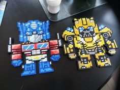 Optimus Prime and Bumblebee - Transformers perler beads by PhilophobicAtHeart