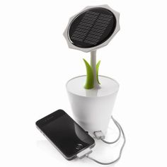 This unique sunflower brings solar energy to you. The rechargeable lithium battery inside is powerful enough to easily charge your mobile phone or player and the solar charger has an USB output and mini-USB input. This item includes a mini USB cable. Renewable Energy, Solar Energy, Solar Power, Cool Technology, Technology Gadgets, Green Technology, Medical Technology, Energy Technology, Gadgets And Gizmos