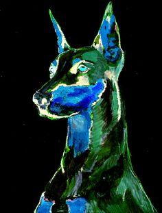Doberman Dog Portrait Colorful Abstract Funky by OscarJetson